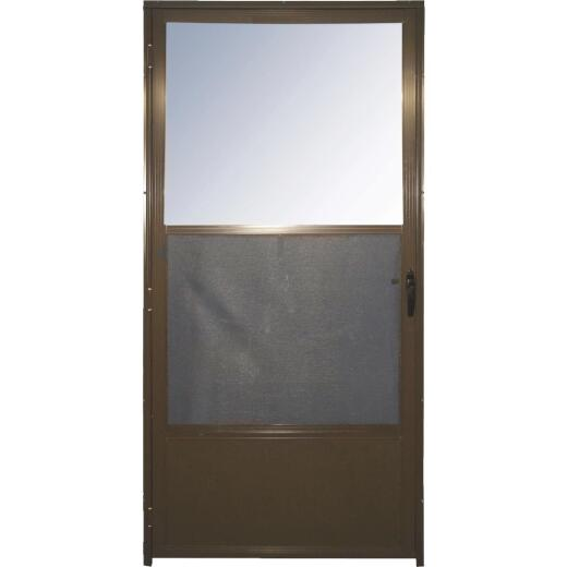 Croft Imperial Style 32 In. W. x 80 In. H. x 1-7/8 In. Thick Bronze Self-Storing Aluminum Storm Door