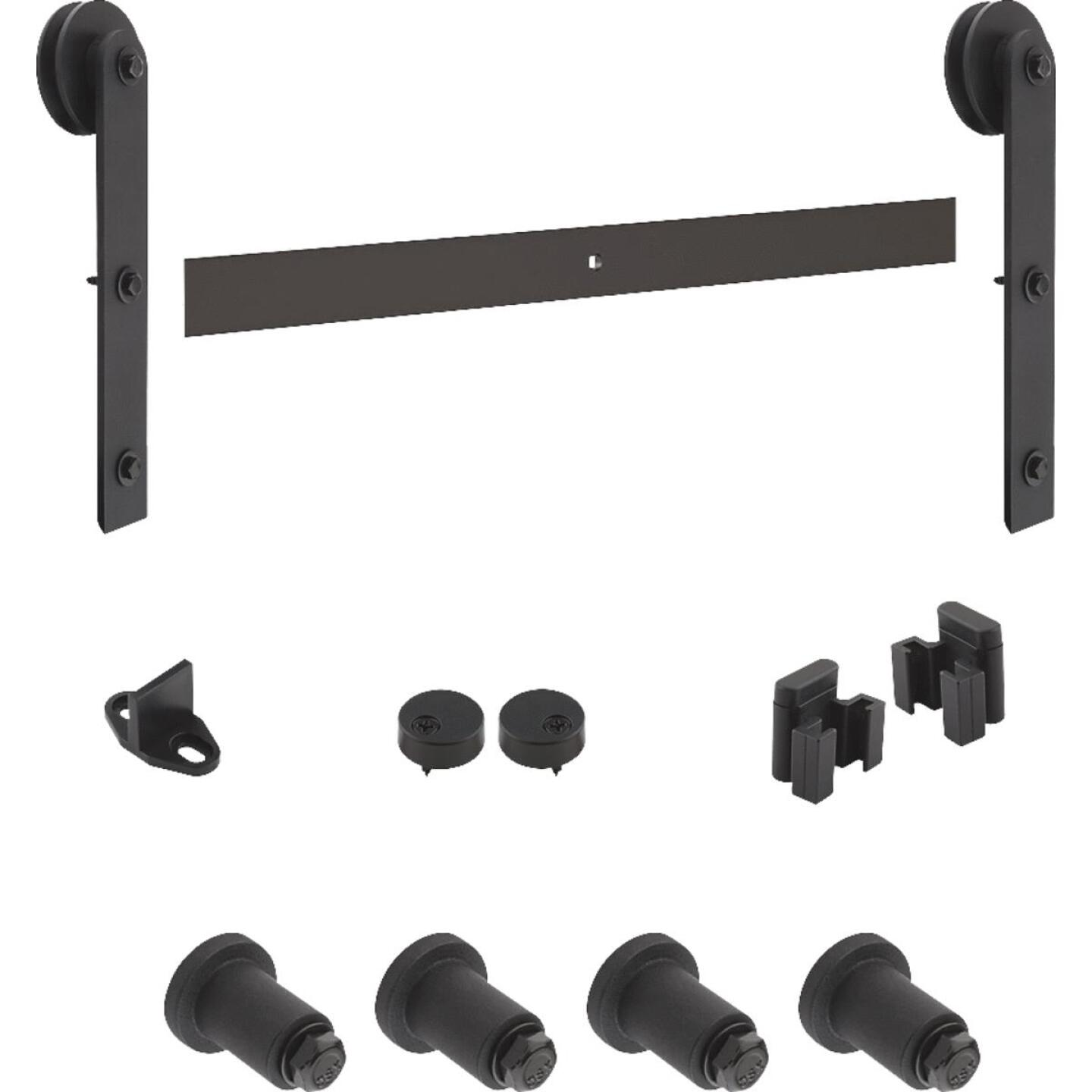National Black Interior Sliding Barn Door Track Hardware Kit Image 1