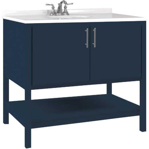 Bertch Essence 36 In. W x 34-1/2 In. H x 21 In. D Cobalt Furniture Style Vanity Base, 2 Door