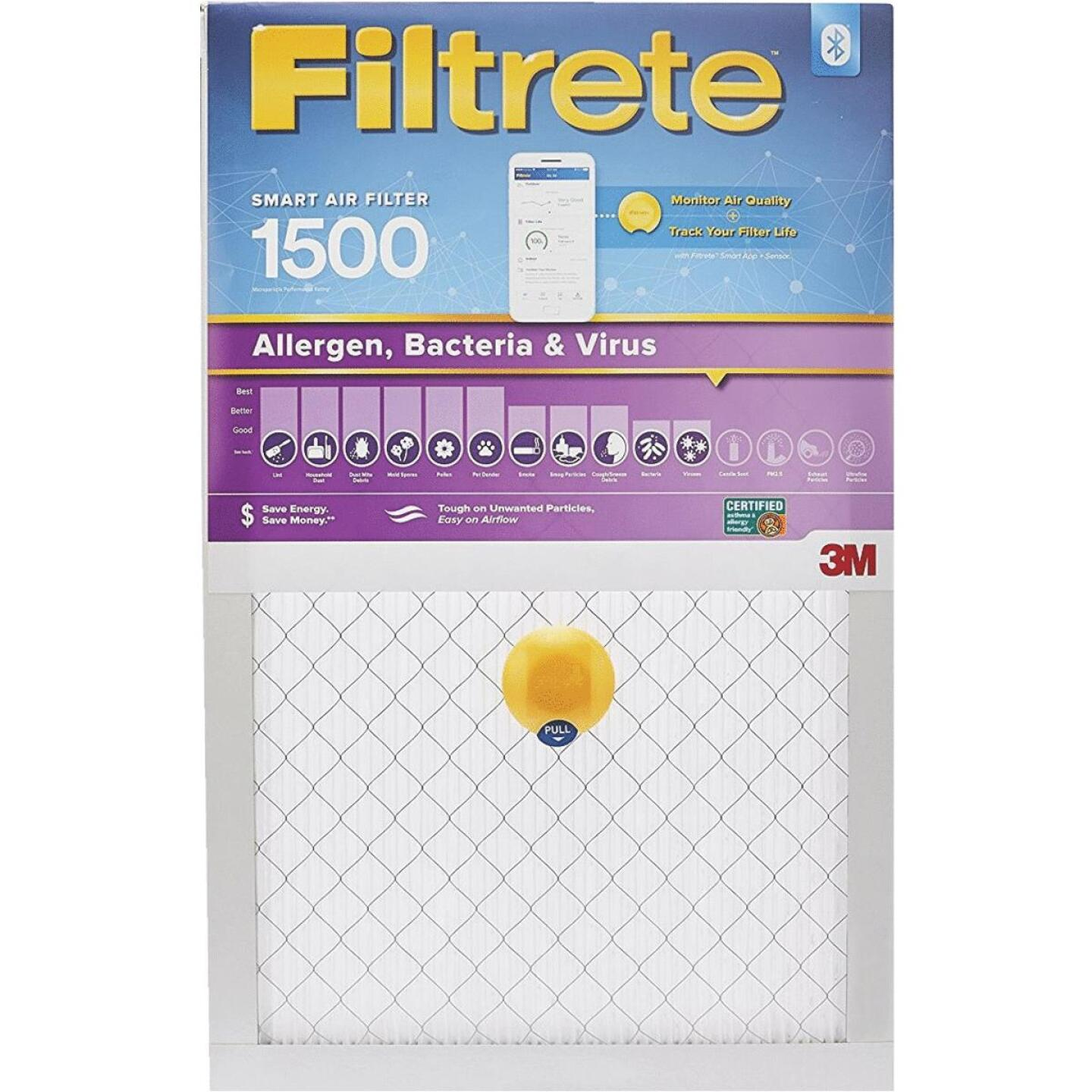 3M Filtrete 16 In. x 25 In. x 1 In. 1500 MPR Allergen, Bacteria & Virus Smart Furnace Filter Image 1