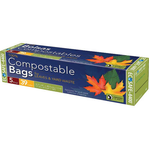 Eco Safe 6400 30 Gal. Green Compostable Lawn & Leaf Bag (5-Count)