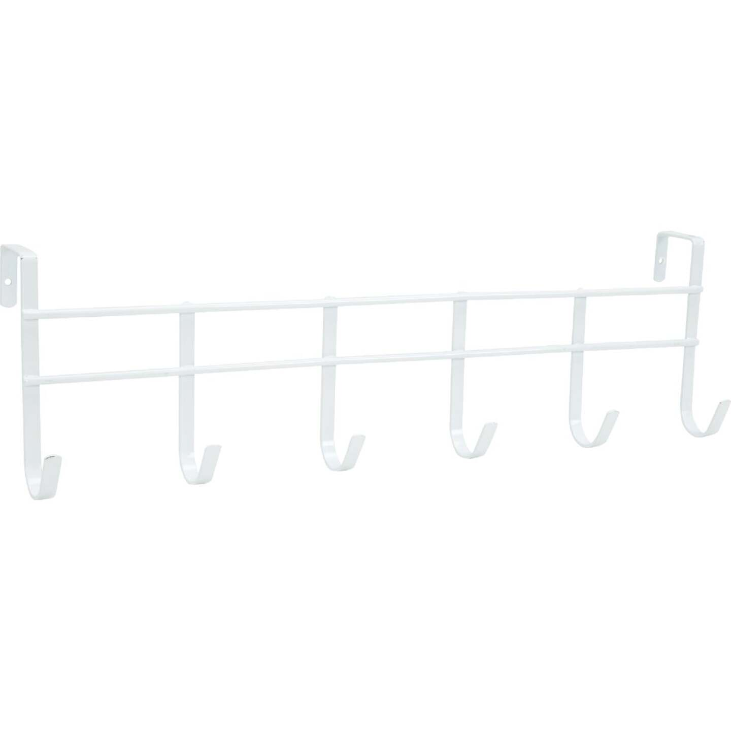 Spectrum White Over-The-Door Hook Rail with 6 Hooks Image 2