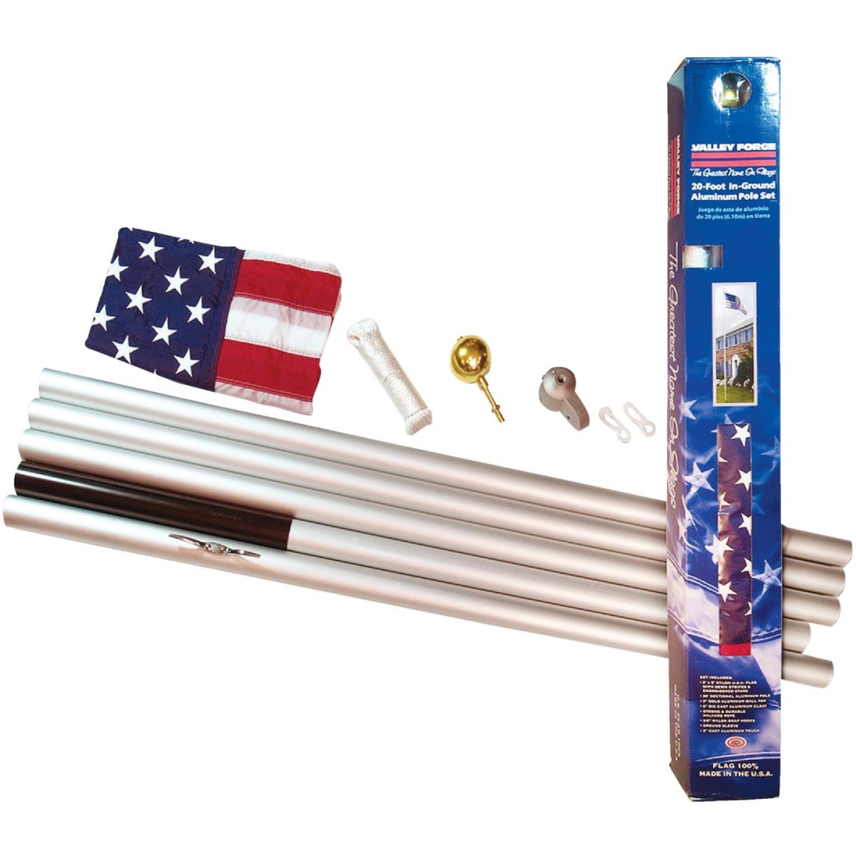 Valley Forge 3 Ft. x 5 Ft. Nylon American Flag & 20 Ft. Pole Kit Image 3